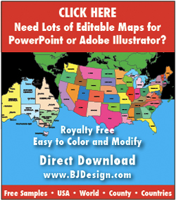 bjdesign.com, powerpoint, clip art, adobe illustrator maps, editable maps
